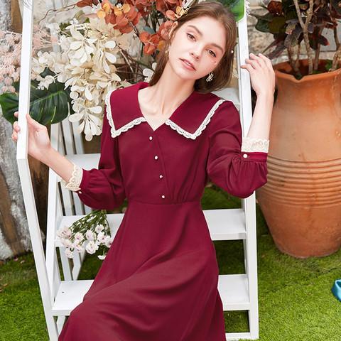 xiangying 香影 法式雪纺连衣裙女气质赫本风收腰显瘦娃娃领裙 暗红 M