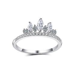 蒂卡世琦  莫桑石钻戒女仿真钻石1克拉 皇冠戒指