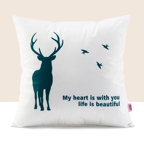 FOOJO 富居 FOOJO 北欧风沙发抱枕办公室靠枕床头学生腰枕汽车抱枕车载靠垫椅子靠背垫45*45cm小鹿(含芯)