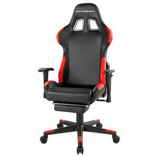DXRACER 迪锐克斯 F01 电竞椅 黑红色 皮艺款 带搁脚