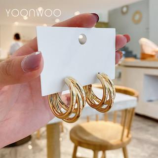 YOONWOO F-5-12 女士银针三圈耳环