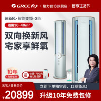 gree/格力 KFR-72LW 新一级能效新风变频健康空调家用智能臻新风 汝瓷青