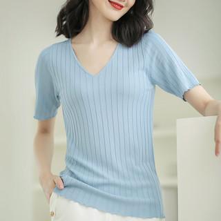 冰丝针织衫短袖T恤女夏季薄2021新款宽松v领打底内搭白色防晒上衣