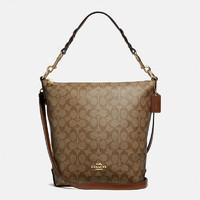 COACH 蔻驰 蔻驰(COACH) 奢侈品 女士大号水桶包单肩手提包卡其棕色PVC F31477 IME74