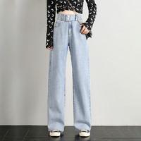 【夏季薄款显腿直】21夏季新款宽松阔腿裤老爹裤女士牛仔裤女裤 XL 浅蓝色