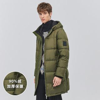 Trendiano 男装冬连帽徽章羽绒服中长大衣外套