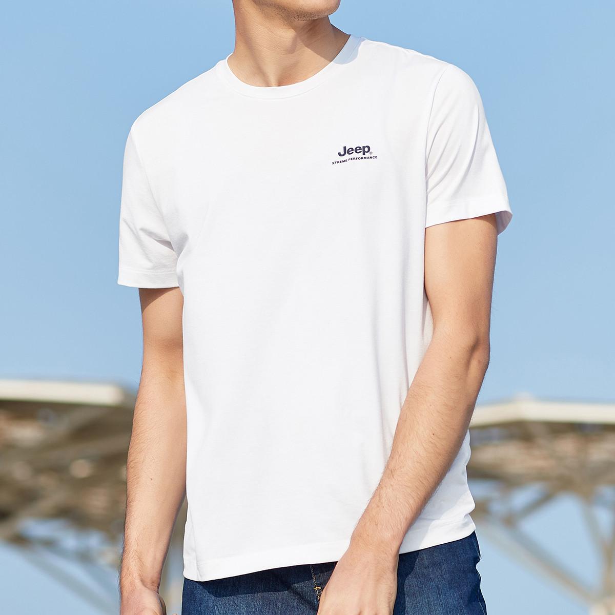 JEEP 吉普 夏季新款男款运动t恤百搭时尚圆领短袖顺滑亲肤透气男式t恤