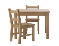 BARNKALAS 巴恩卡拉斯 儿童桌和椅子2把 浅仿古色