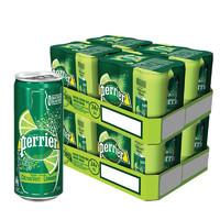 perrier 巴黎水 青柠气泡矿泉水纤体罐装 330ml*24罐*2箱