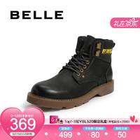 BELLE/百丽冬商场同款磨砂牛皮革男休闲短靴工装靴(单/绒里)6ST01DD9 黑单里 43