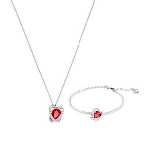 SWAROVSKI 施华洛世奇 不规则环形深红水晶项链手链套装5463761
