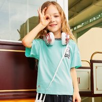 Hush Puppies 暇步士 21年夏装新款女童圆领衫短袖T恤休闲T恤全棉运动T恤