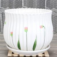 京东PLUS会员 : 裕轩堂  时尚陶瓷花盆 88003/草花 直径14cm
