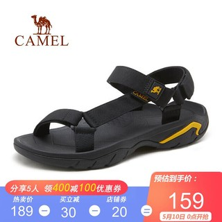 CAMEL 骆驼 骆驼(CAMEL)男鞋 2021夏季时尚清凉便捷户外休闲轻盈潮流防滑凉鞋男 黑色 40