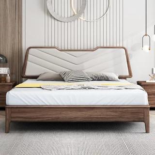 吉木多 乌金木北欧实木床现代简约1.8米极简主卧双人床1.5米高端卧室大床(1.8*2米胡桃色 单床)