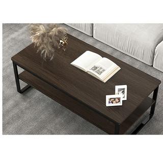 沃变 茶几 简约双层小户型客厅创意茶桌 檀木色120*60*42cm