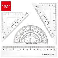 凑单品、PLUS会员:Comix 齐心 B3259 多功能绘图套尺 4件套