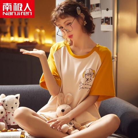 Nan ji ren 南极人 南极人 Nanjiren 女士睡衣女夏短袖套装韩版圆领卡通印花舒适可外穿家居服内衣套装