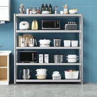 宜厨纳  不锈钢厨房置物架落地多层货架储物架 长50宽40高180 五层加厚