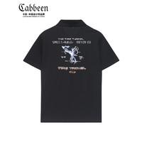 CABBEEN 卡宾 商场同款卡宾男装黑色短袖POLO上衣3211163015潮流刺绣烫贴修身C 煤黑色01 50/175/L