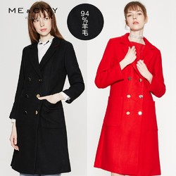 ME&CITY MECITY 收腰西装大口袋双排扣毛呢大衣红色外套女