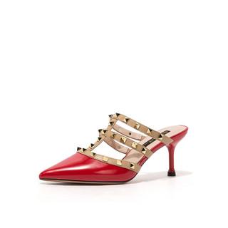 ST&SAT 星期六 星期六夏季质感铆钉后空细高跟半拖鞋可外穿穆勒鞋女