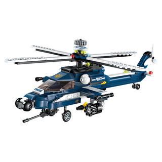 QMAN 启蒙 积木飞机益智直升机儿童智力拼装玩具