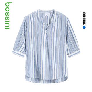 bossini 堡狮龙 堡狮龙21夏季新款女装上衣女宽松七分袖V领条纹女士衬衫