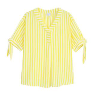 bossini 堡狮龙 堡狮龙21春装新款女装V领条纹女士上衣绑带五分袖衬衫