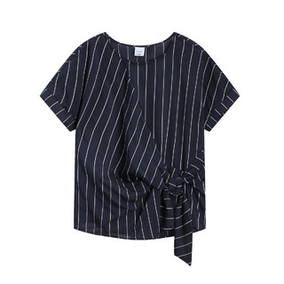 bossini 堡狮龙 堡狮龙春季新款女装绑结宽松短袖条纹衬衣女士衬衫