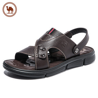 CAMEL 骆驼 男士凉鞋休闲透气舒适两穿牛皮凉拖鞋 W022263092 棕色 40