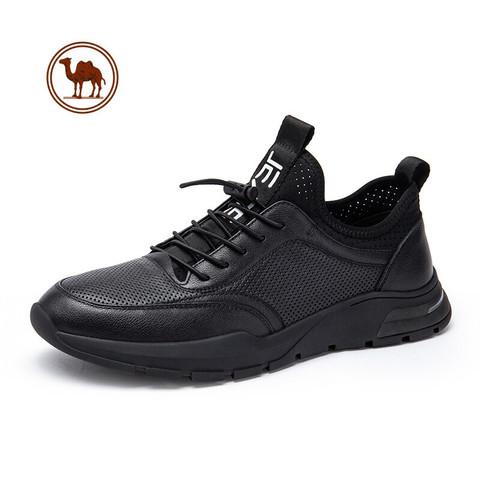 CAMEL 骆驼 骆驼牌 男鞋休闲皮鞋韩版潮流百搭黑白镂空透气运动鞋 W122252480 黑色 41