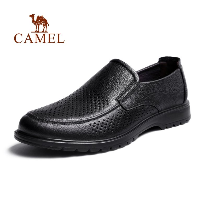 CAMEL 骆驼 真皮男鞋2021夏季软皮商务镂空男士正装皮鞋休闲透气软底皮鞋