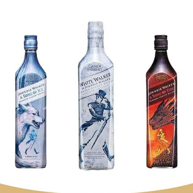 JOHNNIE WALKER 尊尼获加 苏格兰威士忌 冰与火之歌 权力的游戏套装组合:火版1L+冰版1L+White Walker限量款1L