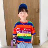 左西 男童短袖T恤2021新款夏装儿童中大童洋气拼接条纹运动上衣薄