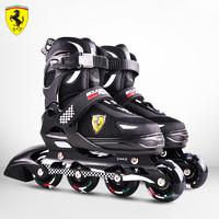 法拉利 Ferrari 溜冰鞋儿童全闪轮滑鞋初学者专业可调码旱冰鞋 黑色 M(适合33-37码)