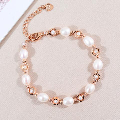 黛米 蓉岚 淡水珍珠手链米形珠 气质手镯时尚女款手链首饰