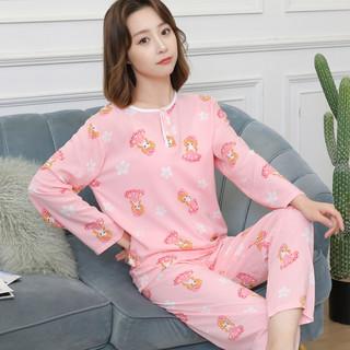 朵朵莉 春夏季棉绸睡衣女宽松长袖绵绸可爱套装薄款人造棉女孩居家空调服