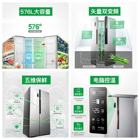 Ronshen 容声 容声冰箱对开门风冷无霜低燥大家电保鲜速冻大容量家用电冰箱 BCD-576WD11HP