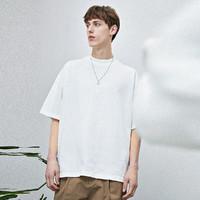T恤男简约休闲纯色落肩圆领短袖夏季纯棉短袖t恤男士上衣 S