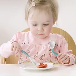 babycare 宝宝学吃饭训练叉勺弯曲弯头套装儿童婴儿辅食餐具喂养