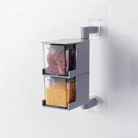 厨房免打孔壁挂式可旋转调味盒多层抽屉式调料盒