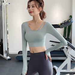佑游 运动上衣女春季紧身显瘦性感露脐长袖T恤网红跑步训练瑜伽健身服