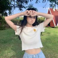 YUZHAOLIN 俞兆林 新款时尚小雏菊刺绣修身显瘦百搭薄夏木耳边打底圆领短袖女式T恤