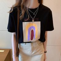 YUZHAOLIN 俞兆林 新款韩版百搭简约舒适宽松亲肤透气字母薄夏打底圆领短袖女式T恤