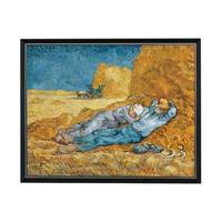 雅昌 梵高人物风景油画《午休》沙发背景墙挂画 爵士黑 90*73cm