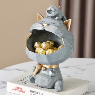 Hoatai Ceramic 华达泰陶瓷  客厅摆件 K歌猫收纳-灰色