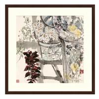 雅昌 花卉国画水墨画《晨妆》袁野 沙发背景墙装饰画 茶褐色 88*88cm