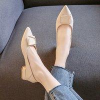 RED DRAGONFLY 红蜻蜓 红蜻蜓2021女鞋时尚钻饰时装鞋女粗跟浅口女单鞋