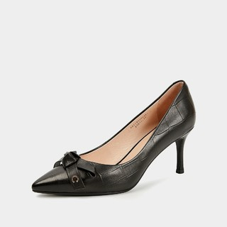 C.BANNER 千百度 千百度2021春新品气质蝴蝶结高跟鞋石头纹羊皮百搭通勤女单鞋